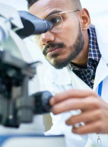 Veterinary surgeon using a microscope
